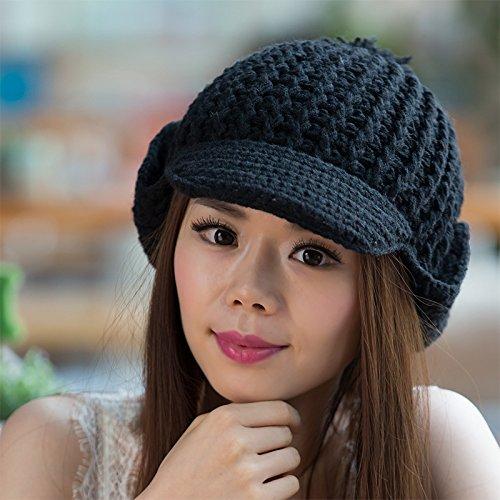 Sombreros BLACK Maozi Amplio de Coreana Bola Knit Brimmed del Grande Cubierta del Parpadea oído Versión Joker la aqarAO