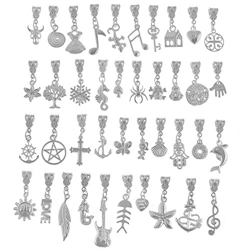 RUBYCA 120Pcs Tibetan White Silver Plated Metal Connector Bails Mix Bead Pendant Charm Bracelet - Charm Plated Metal