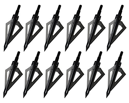 Hunting Broadheads, Sinbadteck 12PK 3 Blades Archery Broadheads 100 Grain Screw-in Arrow Heads Arrow Tips Compatible with Crossbow and Compound Bow (Black)