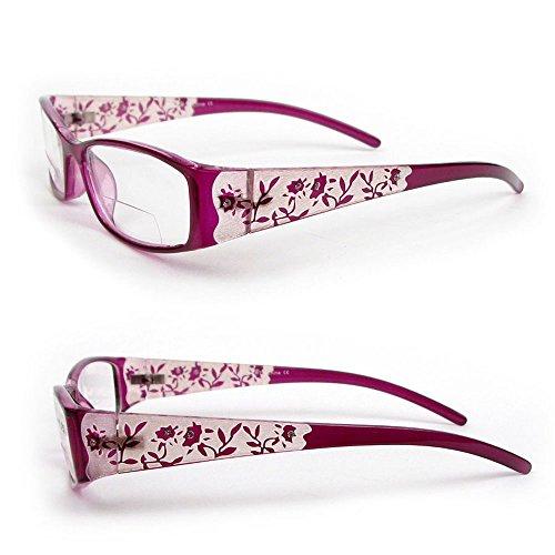Reading Glasses Bifocal Floral Pattern Crystal Readers 100-400 (2.00, Purple)