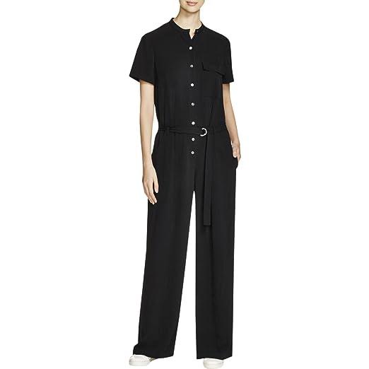 e33685be11f3 Amazon.com  DKNY Pure Women s Petites Wide Leg Button-Down Jumpsuit ...