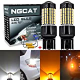 NGCAT 2PCS 6500K 7443 7444NA 7440 7440NA 7441 992 800LM Dual Color White/Amber Canbus Error Free Switchback Turn Signal Light Led Bulbs 3014 120-SMD Lens LED Light Lamp with 50W 8ohm Load Resistors