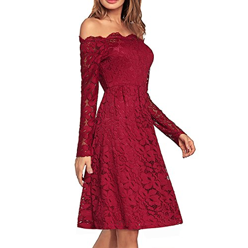 DISSA Women Cocktail Midi Sleeve Strapless Red Long Party Vintage Dress Summer HW662 rrqpwTf