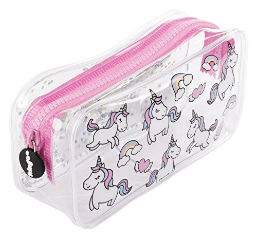 Estuche escolar Fringoo®, diseño líquido y transparente, color Unicorns & Rainbows Large