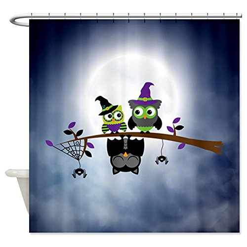 Shower Curtain Little Spooky Vampire Owl with Friends