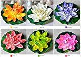 22.5'' Nice Artificial Lotus Water Lilies Faux Floating Flower Plant Fish Tank Garden Pool Pond House (6pcs(1pc per color or any color))