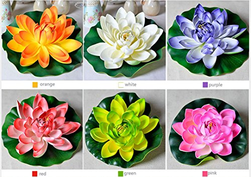 22.5'' Nice Artificial Lotus Water Lilies Faux Floating Flower Plant Fish Tank Garden Pool Pond House (6pcs(1pc per color or any color)) by 22.5'' Artificial lotus