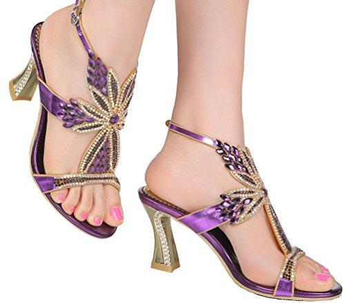 Chunky Party Comfort Bride L004 Heels Glaring Sandals Womens Beautiful Work Wedding Shoes Job Purple Leisure Performance Salabobo Dress Pretty Rhinestone Stilettos Bridemaid awtqgfa