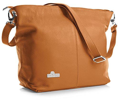 LIATALIA Femme épaule pour Main modèle Hobo porté Adal Fourre Cuir en Italian Sac Vif Orange à Tout rW4UrS