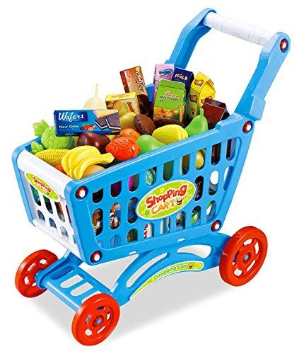 Kinder Einkaufswagen 80 tlg. für Kaufladen in blau