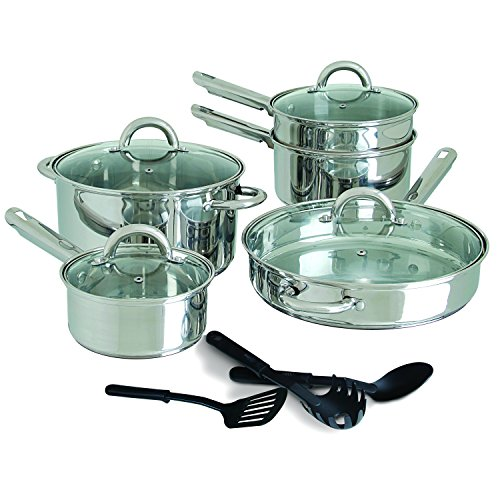 Steel Gibson Spoon Stainless (Gibson Home 64208.12 Abruzzo 12 Piece Stainless Steel Cookware Set, Silver)