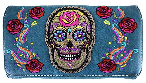à Skull Sac Black bandoulière Messenger à turq Sac main wallet dc6qY
