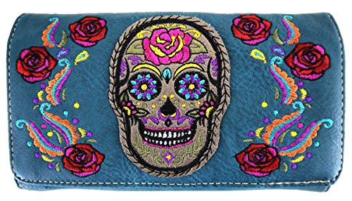Messenger Sac Black turq à main Sac wallet bandoulière à Skull twUqx6E