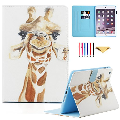 iPad Mini Case,Mini 2 3 4 Case MonsDirect Leather Smart Kickstand Case Cover Colorful Flip Wallet Protective Case Compatible with Apple iPad Mini 1 2 3 4,Giraffe ()