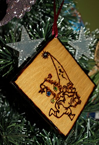 Christmas Tree Gnome Wooden Christmas Ornament- Hand Wood Burned Ornament