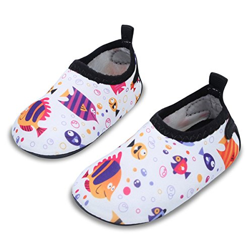 JIASUQI Summer Beach Walking Sand Pool Water Shoes for Baby Boys Girls White/Fish 12-18 Months (Design Fish Color Multi)