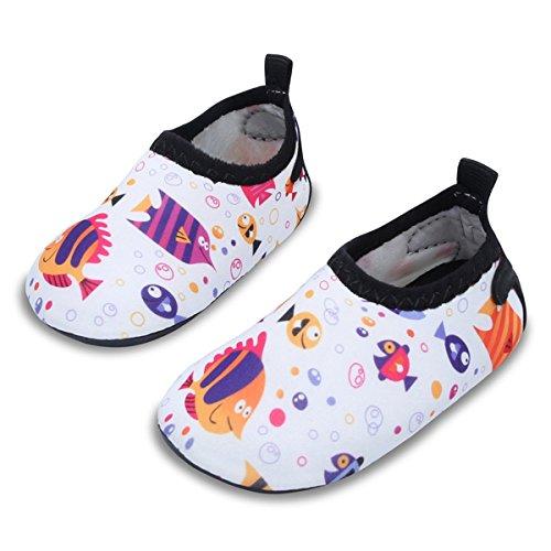 (JIASUQI Summer Beach Walking Sand Pool Water Shoes for Baby Boys Girls White/Fish 12-18 Months)