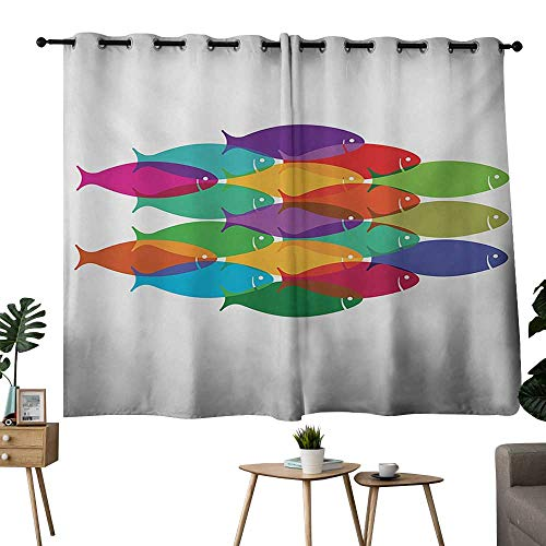 NUOMANAN Decor Curtains by Colorful,Vibrant Colored Fish Silhouettes Shoal Exotic Underwater Wildlife Inspired Theme,Multicolor,Rod Pocket Curtain Panels for Bedroom & Living Room -