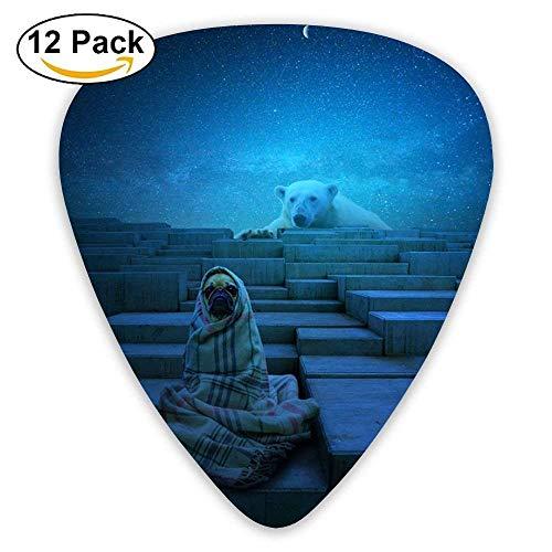 Peeking Bear Guitar Picks 12/Pack Set Celluloid Medium Paddles Plectrums 0.46mm/0.71mm/0.96mm Instruments Bass For Guitarist Players Beginner ()