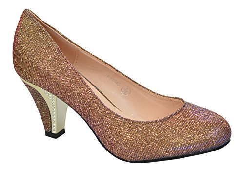 Courts Mid Bronzo Glittery Ladies Diamante Feet Chic Heel Sera Party New Wedding Prom qwRnA8P6