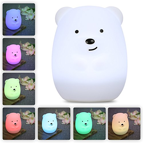 LumiPets Baby Night Light Nursery Lamp - Cute Portable LED Soft Touch Safe For Kids & Children - USB Rechargeable Bear