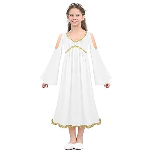 iefiel kids girls greek goddess long dress halloween costume aphrodite athene dress up role play