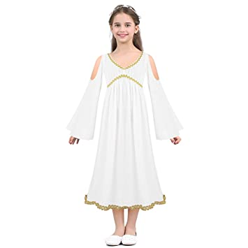 tiaobug kids girls greek goddess halloween costume aphrodite athene dressing up role play white 2