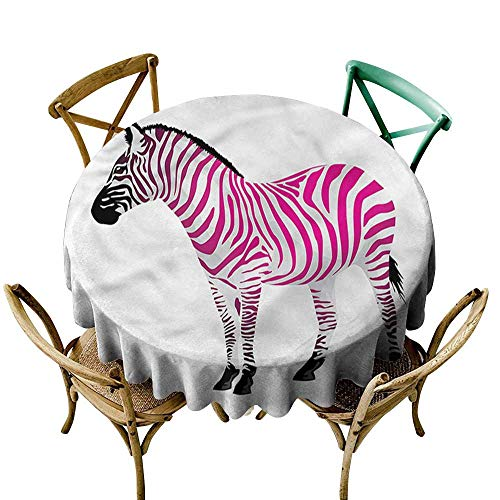 Luunins Round Tablecloth Cotton Pink Zebra,Savannah Animal Art D60,for Bistro Table (Bistro Savannah)