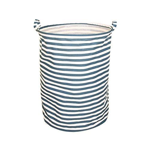 BUYUE Laundry Hamper Large Folding Basket Waterproof Fabric Cotton-Linen Home Storage with Handle 15 Dx19.7 H (Blue Stripe,L)