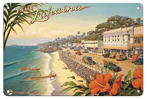 Hawaii Tin (Pacifica Island Art 8in x 12in Vintage Tin Sign - Visit Lahaina - Maui, Hawaii - Inter-Island Steam Navigation Company - Front Street by Kerne Erickson)