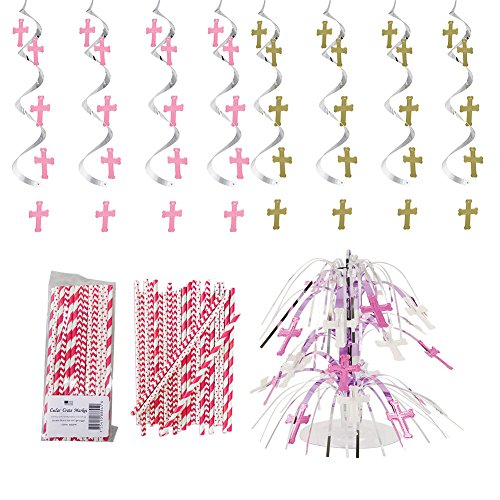 Blessings Pink Baptism, 1st Communion, Religious, Decorations Party Supplies Pack: Straws, Dizzy Danglers, and Centerpiece -