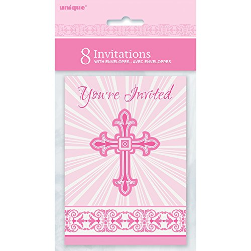 Radiant Cross Pink Religious Invitations, 8ct (Cross Religious Invitations)