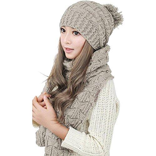 Winter Hat Scarf Cute Knit Crochet Beanies Cap Hats For Women Beige