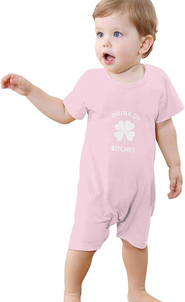 Drink Up Bitches Clover Baby Short Sleeve Rompers Summer Pajama Jumpsuit Bodysuit Coveralls