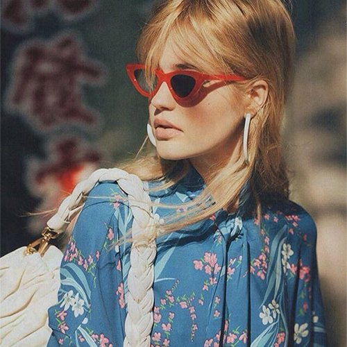 Gafas retro vintage protección gafas de Gafas estilo para sol gato amp; Cobain de de sol Negro Rojo ADEWU Kurt de ojo de mujeres 2pcs niñas 6qwOOTA