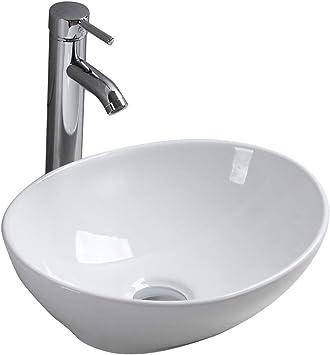 Countertop Wash Basin Ceramic Sink Bowl Gloss White Oval Round Vessel Washbasin Modern Design For Bathroom Cloakroom Office Amazon Co Uk Diy Tools