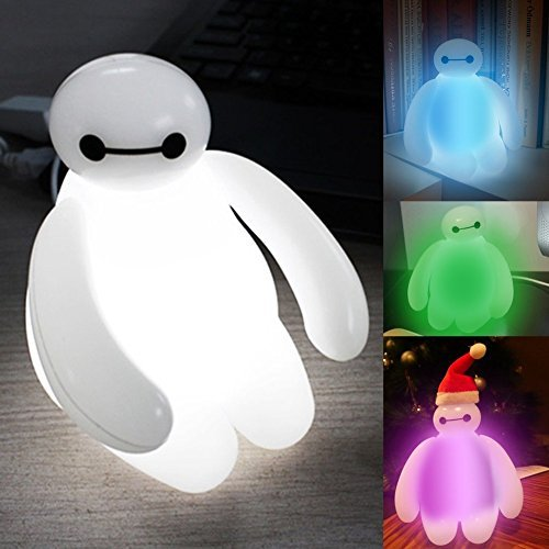 Disney Big Hero 6 Baymax 15cm Cartoon Marshmallow Robot White Fat Color Changing USB LED Night Light Table Desk Movie Figure Toy Gift Kids by EZY Mart
