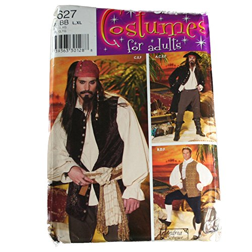 Simplicity 0627 Sewing Pattern Men's Costume Pirate Johnny Depp Size BB L,XL