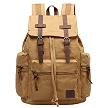 Hynes Eagle Women Men Vintage Leather Canvas Bag Backpack Outdoor Rucksack Daypacks Khaki