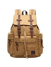 Hynes Eagle Women Men Vintage Leather Canvas Bag Backpack Outdoor Rucksack Daypacks Khaki