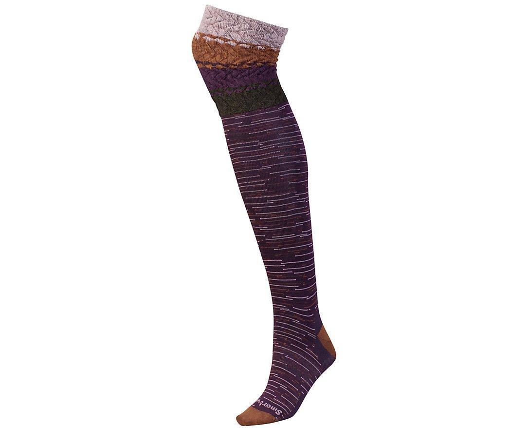 SmartWool Women's Built Up Beehive Over The Knee Socks (Bordeaux Heather) Medium
