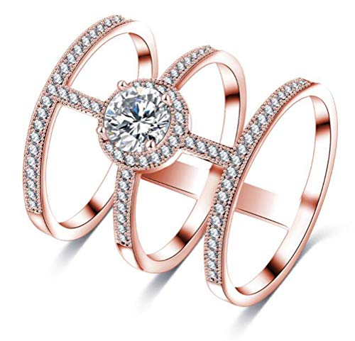 TEMEGO Full Finger Ring,Knuckle Rings for Women,14k Rose Gold Vintage Austrian Crystal Around Wrap Ring
