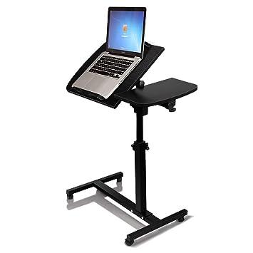 Escritorio portátil para ordenador portátil con alfombrilla de ratón, parte superior ajustable y ruedas soporte