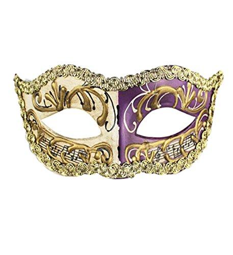 micrkrowen Halloween High-Grade Musical Note Mask Masquerade Yin Yang Props Kamen(Purple White)]()