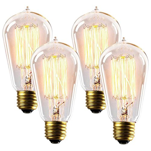 60W Edison Light Bulbs ST58 Filament Vintage Bulb Antique Style Incandescent Clear Glass Light Squirrel Cage Design E26/E27 Medium Base Lamp (4 Pack) for Chandeliers Wall Sconces Pendant Lighting