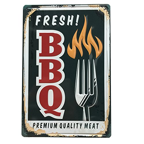 YOSEE Fresh BBQ Metal Tin Signs Wall Decor Art 8x12 Inches (20x30cm)