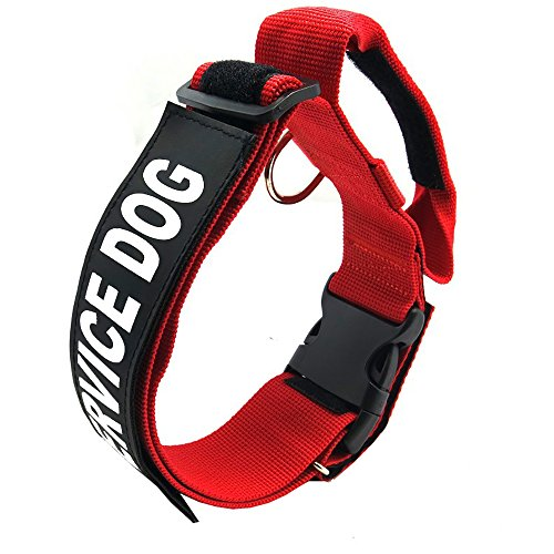 (Dog Handle Collar Pet Jump Resistant Adjustable Necklet Service Dog Explosion-proof Reflective Removable Nylon Chaplet Training Supplies(Red) (L))