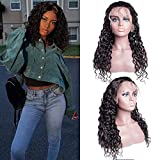 Lace Front Human Hair Wigs Water Wave Wig with Baby Hair 130% Density Wet and Wavy Human Hair Wigs for Black Women Natural color(10inch)
