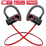 Wsiiroon Wireless 4.2 Bluetooth Headphones, Waterproof IPX7 Sport Headsets in Ear Earbuds, HD Stereo Headphones Over 11 Hrs Battery Noise Cancelling for Outdoor Exercise (Comfy & Fast Pairing)