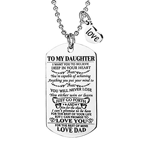 ALoveSoul Dad to My Daughter Dog Tag Necklace Military Girl Jewelry Dogtags Love Pendant Daughter Gifts Jewelry (Love My Dog Necklace)